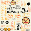 Halloween background with bats and pumpkin. — Imagen vectorial