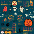 Halloween background with bats and pumpkin. — 图库矢量图片