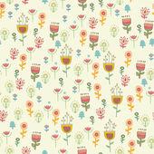 复古花朵和叶子。无缝用鲜花, — 图库矢量图片