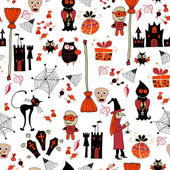 Seamless halloween party pattern with icons — ストックベクタ