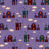 Seamless with cartoon castle pattern — Stockvector