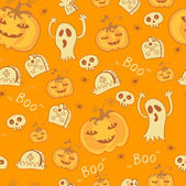 Pattern with Halloween objects. — Stock Vector