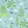 Blue pattern with color christmas trees — Imagen vectorial