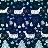 Blue pattern with deers for Christmas — Stock Vector