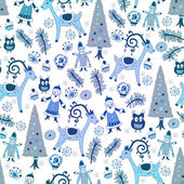 Blue Christmas card.Vector illustration. — Stockvektor
