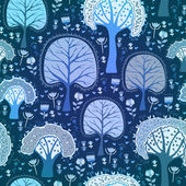 Blue winter forest seamless pattern — Stock Vector