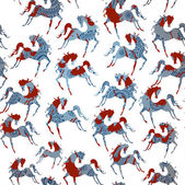 Horse blue seamless pattern. Vector. — Stock Vector