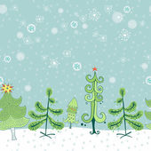 Winter border with christmas trees — Stock Vector