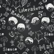 Vector chalkboard school seamless pattern — Vettoriali Stock