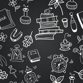 Vector chalkboard school seamless pattern — Vector de stock