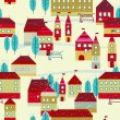 Christmas winter time city pattern background — Stock Vector