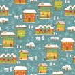 Winter background with houses and snow — Imagen vectorial