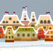 Christmas card with cute little town. seamless — Stock Vector #36727367