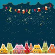 Christmas card with cute little town. seamless — Stock Vector