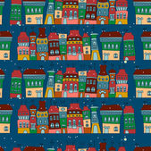 Seamless pattern with colorful houses — Stock Vector