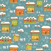 Winter background with houses and snow — Vector de stock
