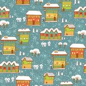 Fundo de inverno com neve e casas — Vetorial Stock
