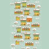 Vertical estate winter town houses banner — Stock Vector