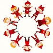Christmas children in circle isolated on white — Stock Vector
