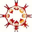 Christmas children in circle isolated on white — Stock Vector #37749247