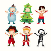 Children in costumes isolated on white background — Stockvector