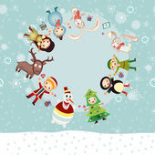 Christmas circle from gift boxes and Santa — Stock Vector