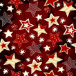 Briht stars on red mosaic background — Vettoriale Stock
