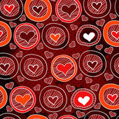 Red pattern with hearts in the circles, sketch — Stock Vector