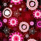 Rouge motif floral sur fond de mosaïque — Vecteur