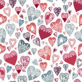 Seamless pattern with hand drawn hearts. — Stock Vector