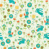 Background with Easter bunnies and eggs — Stockvektor