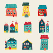 Set of cute houses hand drawn cartoon kids style — Stock Vector