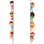 Frame with multinational children in bright clothes — Stockvektor