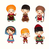 Cartoon Medieval people icon. Set — Stockvector