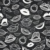 Vector chalkboard seamless. Hot lips — Stock Vector
