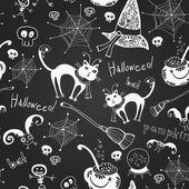 Halloween hand drawing doodles on black chalkboard — Stock Vector