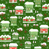 Card with label. Winter background with houses. — Stock Vector