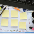 Office desk, free copy space on sticky notes — Stock Photo