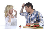 Mature couple in serious marital dispute — Stock Photo