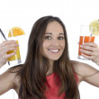Pretty woman with two drinks — Stock Photo