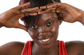 Pretty african girl smiling with hands on front — Stock Photo