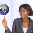 African business woman with world — Stock Photo