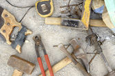 Old fashioned tools at construction site — Stock Photo
