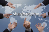 Seven hands with shareconomy illustration — Stock Photo