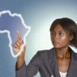 African business woman digital IT background — 图库照片