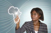 African business woman digital IT background — Stock Photo