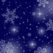 Blue star background with snowflakes — Photo