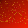 Red Christmas background with crib and stars — Stock Photo
