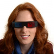 Pretty red-haired woman with 3D glasses — Stock Photo
