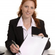 Pretty red-haired business woman with contract — Stock Photo